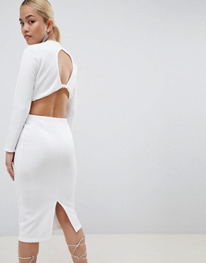 photo Bodycon Midi Dress with Cut Out Back by ASOS DESIGN Petite, color Ivory - Image 2