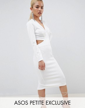 photo Bodycon Midi Dress with Cut Out Back by ASOS DESIGN Petite, color Ivory - Image 1