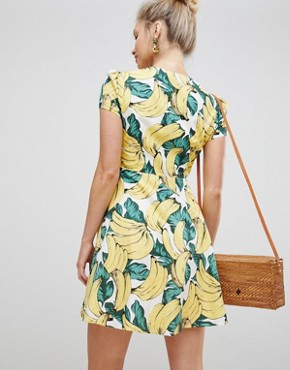 photo Button Down Tea Dress in Banana Print by Glamorous, color Yellow - Image 2