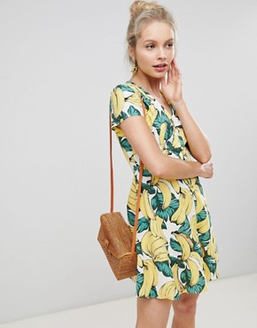 photo Button Down Tea Dress in Banana Print by Glamorous, color Yellow - Image 1