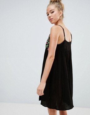 photo Cami Dress with Embroidered Panel and Tassel Ties by Glamorous, color Black - Image 2