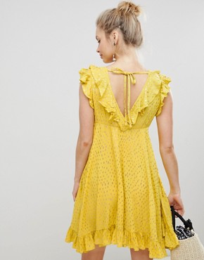 photo Mini Smock Dress with Ruffles in Metallic Fleck by Glamorous, color Yellow - Image 2