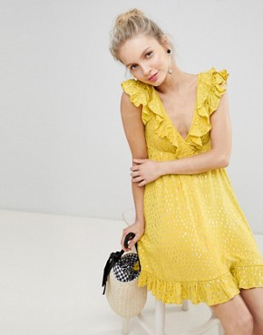 photo Mini Smock Dress with Ruffles in Metallic Fleck by Glamorous, color Yellow - Image 1