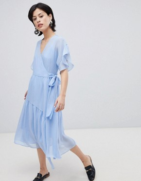 photo Wrap Dress with Asymetric Hem by Vero Moda, color Vista Blue - Image 1