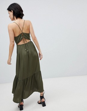 photo Tiered Satin Maxi Dress by Vero Moda, color Ivory Green - Image 2