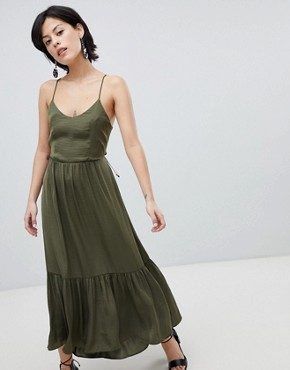 photo Tiered Satin Maxi Dress by Vero Moda, color Ivory Green - Image 1