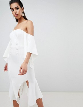photo Bandeau Kimono Sleeve Midi Dress with Tux Button Detail by ASOS DESIGN, color Ivory - Image 1