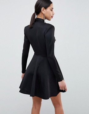 photo Long Sleeve Tuxedo Skater Dress by Club L, color Black - Image 2