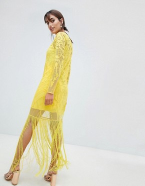 photo Embroidered Long Sleeve Fringe Maxi Dress by ASOS DESIGN, color Yellow - Image 2