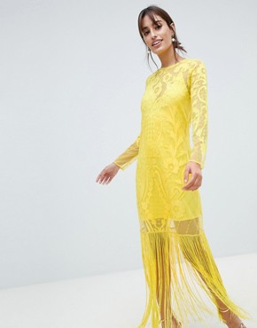 photo Embroidered Long Sleeve Fringe Maxi Dress by ASOS DESIGN, color Yellow - Image 1