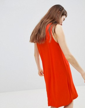 photo Jersey Sleeveless Mini T-Shirt Dress by Monki, color Red - Image 2