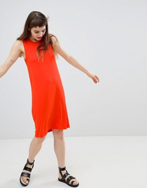 photo Jersey Sleeveless Mini T-Shirt Dress by Monki, color Red - Image 4