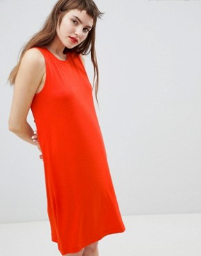 photo Jersey Sleeveless Mini T-Shirt Dress by Monki, color Red - Image 1