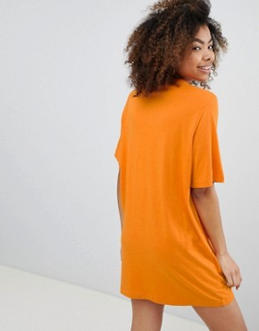 photo Fringe T-Shirt Dress by Monki, color Orange - Image 2