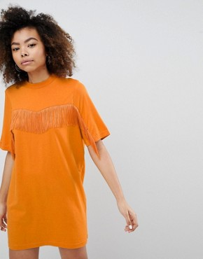 photo Fringe T-Shirt Dress by Monki, color Orange - Image 1