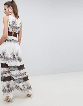 photo Lace Panel Maxi Dress in Vintage Floral by ASOS DESIGN, color Pansy Print - Image 2