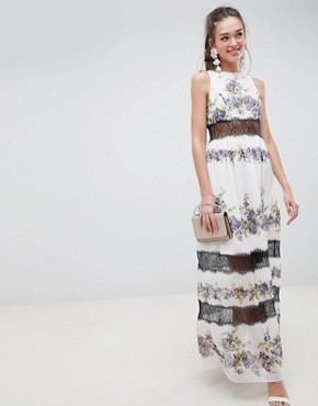 photo Lace Panel Maxi Dress in Vintage Floral by ASOS DESIGN, color Pansy Print - Image 1