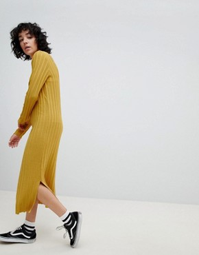 photo Knitted Midi Dress in Wide Rib with V-Back by ASOS DESIGN, color Mustard - Image 2