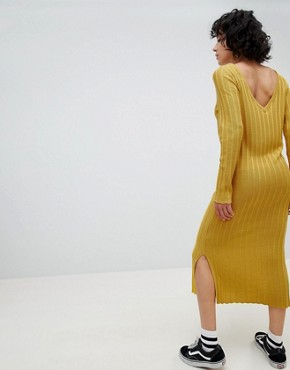 photo Knitted Midi Dress in Wide Rib with V-Back by ASOS DESIGN, color Mustard - Image 1