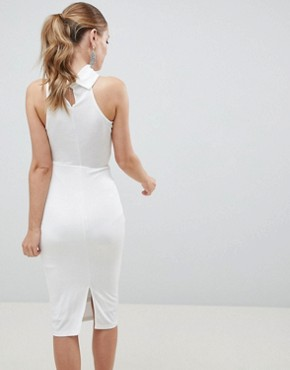 photo High Neck Slinky Tie Side Midi Dress by ASOS DESIGN, color White - Image 2
