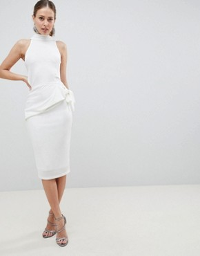 photo High Neck Slinky Tie Side Midi Dress by ASOS DESIGN, color White - Image 1