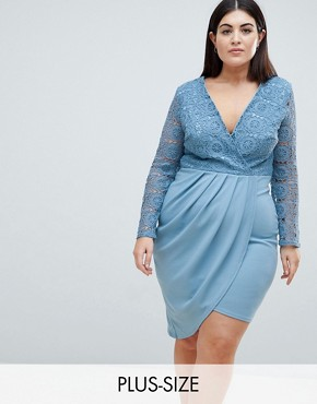 photo Crochet Detailed Wrap Over Asymetric Dress by Club L Plus, color Charcoal Blue - Image 1