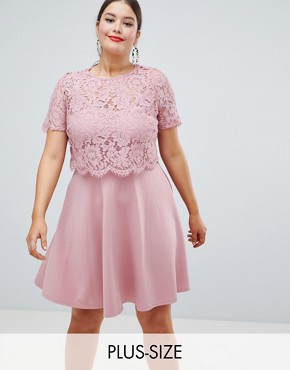 photo Lace Overlay Scuba Skater Dress by Club L Plus, color Pink - Image 1
