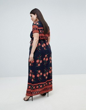 photo Wrap Front Border Printed Maxi Dress by Club L Plus, color Navy Print - Image 2