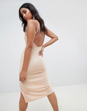 photo Deep V-Bar Midi Bodycon Dress with Thigh Split in Rib Jersey by ASOS DESIGN, color Nude - Image 2
