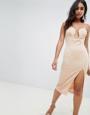 photo Deep V-Bar Midi Bodycon Dress with Thigh Split in Rib Jersey by ASOS DESIGN, color Nude - Image 1
