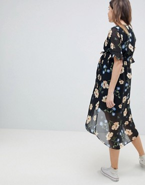 photo Floral Print Midi Dress by New Look Maternity, color Multi - Image 2