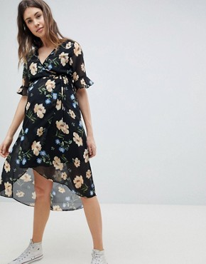 photo Floral Print Midi Dress by New Look Maternity, color Multi - Image 1