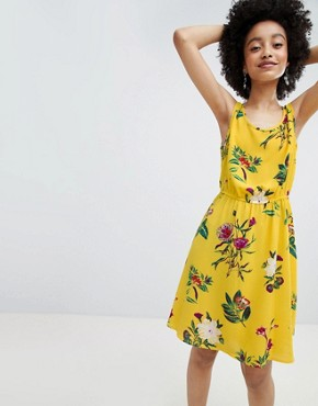 photo Bright Floral Sleeveless Skater Dress by Only, color Multi - Image 1
