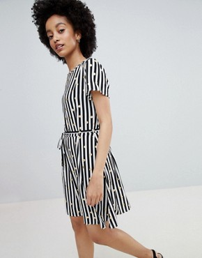photo Metallic Spot Stripe Skater Dress by Only, color Cloud Dancer With Strip - Image 1