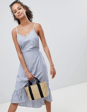 photo Stripe Midi Dress with Cut Out Back Detail by Only, color Multi - Image 2