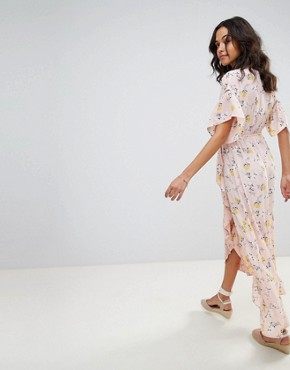 photo Ditsy Floral Wrap Maxi Dress by Moon River, color Pink Floral - Image 2
