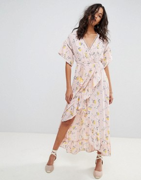 photo Ditsy Floral Wrap Maxi Dress by Moon River, color Pink Floral - Image 1