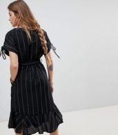 photo Stripe Linen Mix Dress by Moon River, color Black Stripe - Image 2