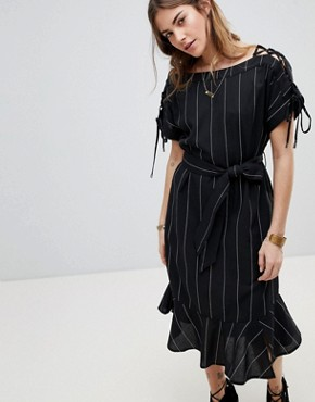 photo Stripe Linen Mix Dress by Moon River, color Black Stripe - Image 1