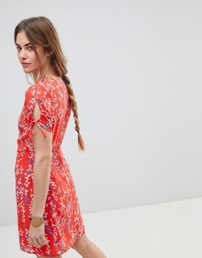 photo Ditsy Floral Wrap Dress by Moon River, color Red Floral - Image 2