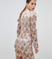 photo Long Sleeve Tassel Fringe Sequins Plunge Bodycon Dress by Club L, color Pink - Image 2