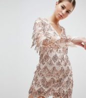 photo Long Sleeve Tassel Fringe Sequins Plunge Bodycon Dress by Club L, color Pink - Image 1