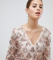 photo Long Sleeve Tassel Fringe Sequins Plunge Bodycon Dress by Club L, color Pink - Image 3