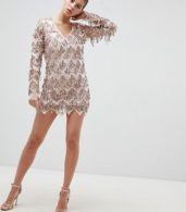 photo Long Sleeve Tassel Fringe Sequins Plunge Bodycon Dress by Club L, color Pink - Image 4