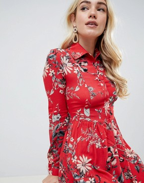 photo Sleeve Printed Collar Detailed Shirt Dress by Club L, color Multi - Image 3