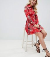 photo Sleeve Printed Collar Detailed Shirt Dress by Club L, color Multi - Image 4