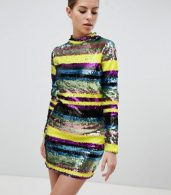 photo Long Sleeve Rainbow Sequin Mini Bodycon Dress by Club L, color Multi - Image 1
