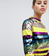 photo Long Sleeve Rainbow Sequin Mini Bodycon Dress by Club L, color Multi - Image 3