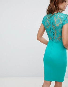 photo High Neck Crochet Cap Sleeve Pencil Midi Dress by Club L, color Green - Image 2