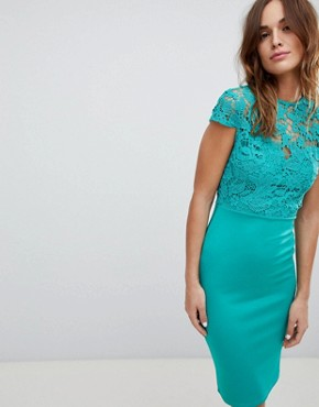 photo High Neck Crochet Cap Sleeve Pencil Midi Dress by Club L, color Green - Image 1